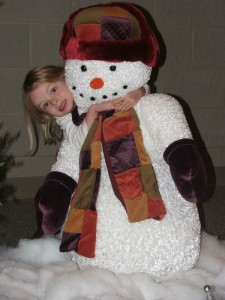 Audrey  and snowman