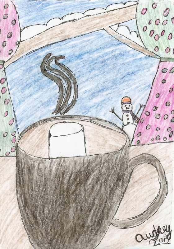 Hot Cocoa Pencil and Ink Drawing 13 December 2013